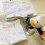 新品のTシャツをカットして使います
